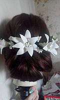 """Дизайнерский веночек для волос """"Лилии"""" для торжеств и фотосессий, стиль """"рустик"""""""