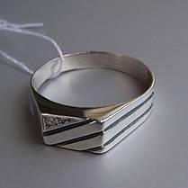 Стильная серебряная мужская печатка с фианитом, 4 грамма, фото 3