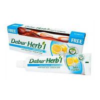 Зубная паста - Соль и Лимон - Отбеливающая  Dabur Herb'l 150г + щетка
