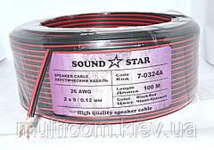 07-04-17. Кабель питания 2жилы 9х0,12мм CСА (0,10мм2) красно-чёрный 100м