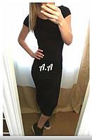 Женское черное летнее платье миди