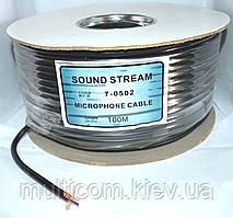 07-06-001. Кабель микрофонный 1 жила в экране (диам.-5,8мм), чёрный, 100м