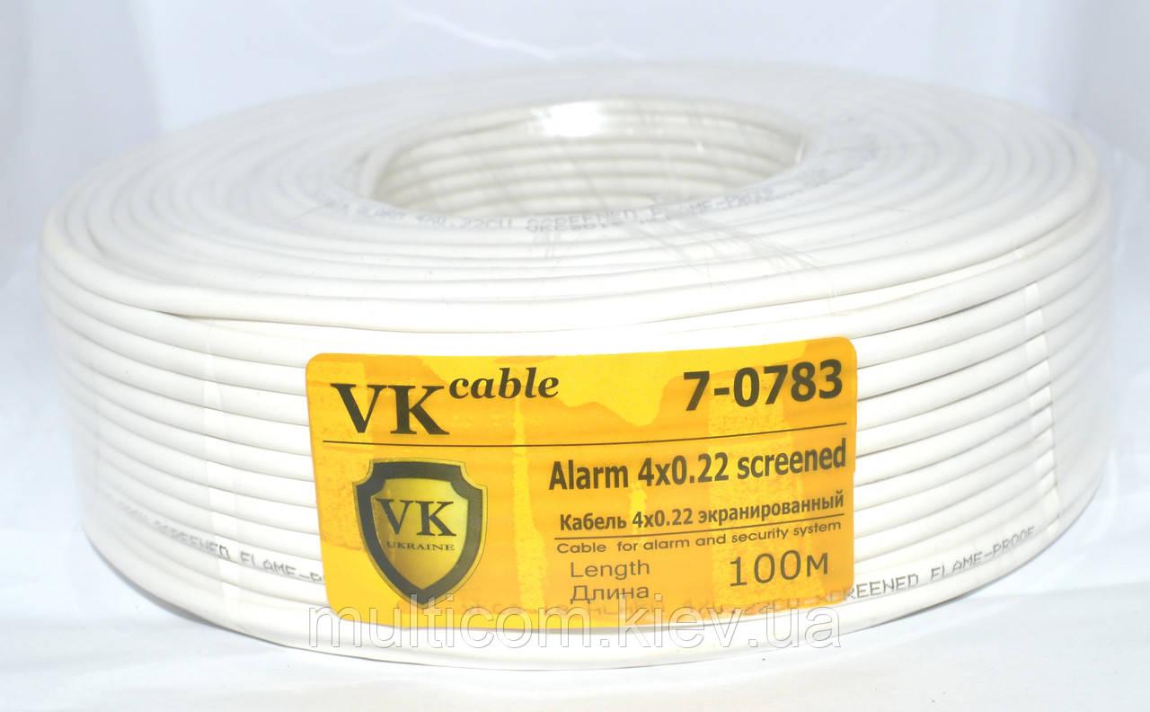 7-0783. Кабель сигнал. VKcable 4жилы в экране 4Cх(7х0,22мм) CU, белый, 100м