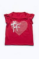 """Детская футболка """"Сердце"""" для девочки (красная)"""