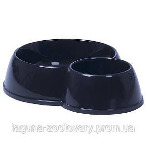 Moderna МОДЕРНА ЭКО двойная миска для кошек, пластик 170-450 мл, d-8-12 см