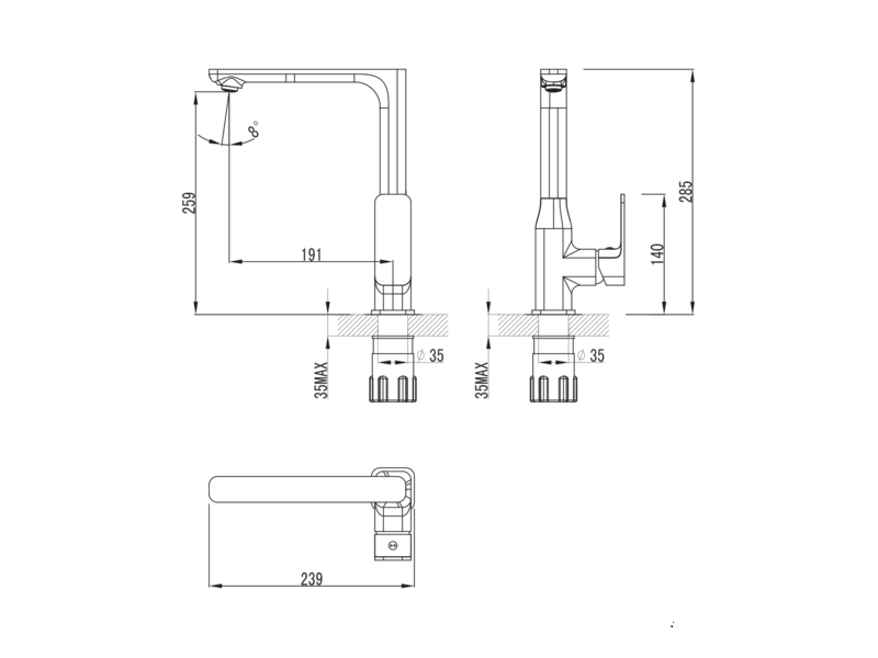 Смеситель для кухни Imprese BILOVEC 55255