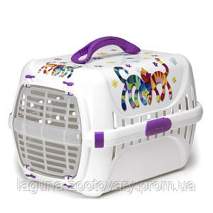 Moderna Trendy Runner Friends Forever МОДЕРНА ТРЕНДИ-РАННЕР переноска для кошек c пластиковой дверцей, фиолетовый, дизайн Друзья Навеки, 51х31х34см