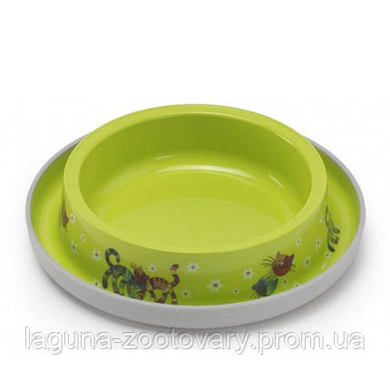 Moderna Trendy Dinner Cat Friends Forever МОДЕРНА миска для кошек, защита от муравьев, пластик, ярко-зеленый, дизайн Друзья Навеки, 210мл, d15см, фото 2