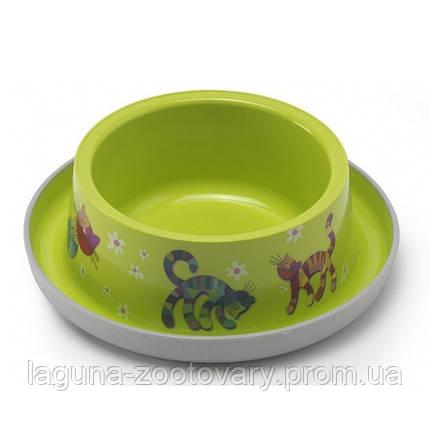 Moderna Trendy Dinner №1 Friends Forever МОДЕРНА миска для кошек, защита от муравьев, пластик, ярко-зеленый, дизайн Друзья Навеки, 350мл, d16см, фото 2