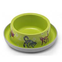 Moderna Trendy Dinner №1 Friends Forever МОДЕРНА миска для кошек, защита от муравьев, пластик, ярко-зеленый, дизайн Друзья Навеки, 350мл, d16см