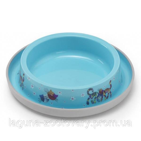 Moderna Trendy Dinner Cat Friends Forever МОДЕРНА миска для кошек, защита от муравьев, пластик, ярко-голубой, дизайн Друзья Навеки, 210мл, d15см