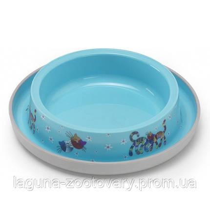 Moderna Trendy Dinner Cat Friends Forever МОДЕРНА миска для кошек, защита от муравьев, пластик, ярко-голубой, дизайн Друзья Навеки, 210мл, d15см, фото 2