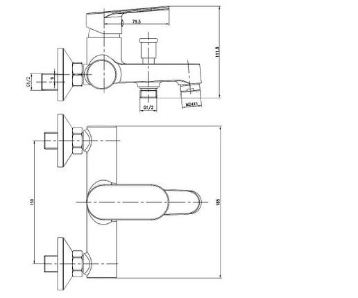 Смеситель для ванны Imprese LESNA 10070, фото 2