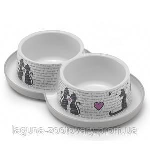 Moderna Double Trendy Dinner Cats in Love МОДЕРНА двойная миска для кошек, защита от муравьев, пластик, светло-серый, дизайн  Влюбленные Коты,