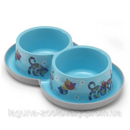Moderna Double Trendy Dinner Friends Forever МОДЕРНА двойная миска для кошек, защита от муравьев, пластик, ярко-голубой, дизайн Друзья Навеки,, фото 2