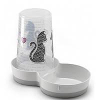 Moderna Tasty Cats in Love МОДЕРНА 2в1 автокормушка автопоилка для кошек и собак, пластик, белый, дизайн Влюбленные Коты, 1,5 л