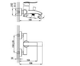 Смеситель для ванны Imprese NOVA VLNA 10135, фото 2
