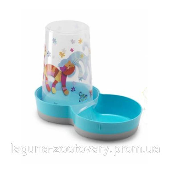 Moderna Tasty Friends Forever МОДЕРНА 2в1 автокормушка автопоилка для кошек и собак, пластик, ярко-голубой, дизайн Друзья Навеки, 1,5 л