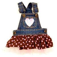 MonkeyDaze ГОРОШЕК (Polka Dot Denium) джинсовое платье, одежда для собак
