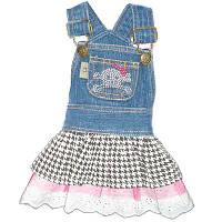 MonkeyDaze ЧЕРЕП (Denim Skull dress) котоновое платье со стразами, одежда для собак