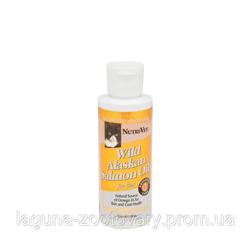 Nutri-Vet Salmon Oil НУТРИ-ВЕТ 118мл МАСЛО ДИКОГО ЛОСОСЯ витаминная добавка для шерсти кошек, жидкая