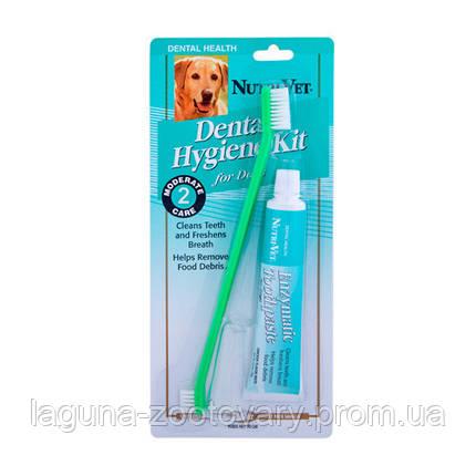 НУТРИ-ВЕТ НАБОР ДЛЯ ГИГИЕНЫ ПАСТИ для собак, энзимная зубная паста, двусторонняя зубная щетка и зубная щетка, фото 2