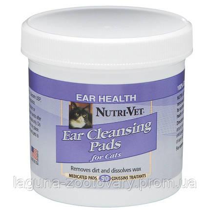 Nutri-Vet Feline Ear Wipe НУТРИ-ВЕТ ЧИСТЫЕ УШИ влажные салфетки для гигиены ушей кошек, 90 шт, фото 2
