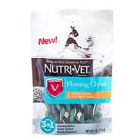 Nutri-Vet Flossing Chews 3in1 НУТРИ-ВЕТ ФЛОСС ЛАКОМСТВО 3в1 жевательное лакомство с зубной нитью для собак малых пород, 6 шт, 113 г