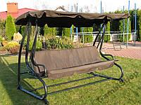 Садовая качеля-диван RAMIZ  с козырьком коричневая