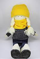 Кукла-девочка с желтыми аксессуарами в стиле Тильда