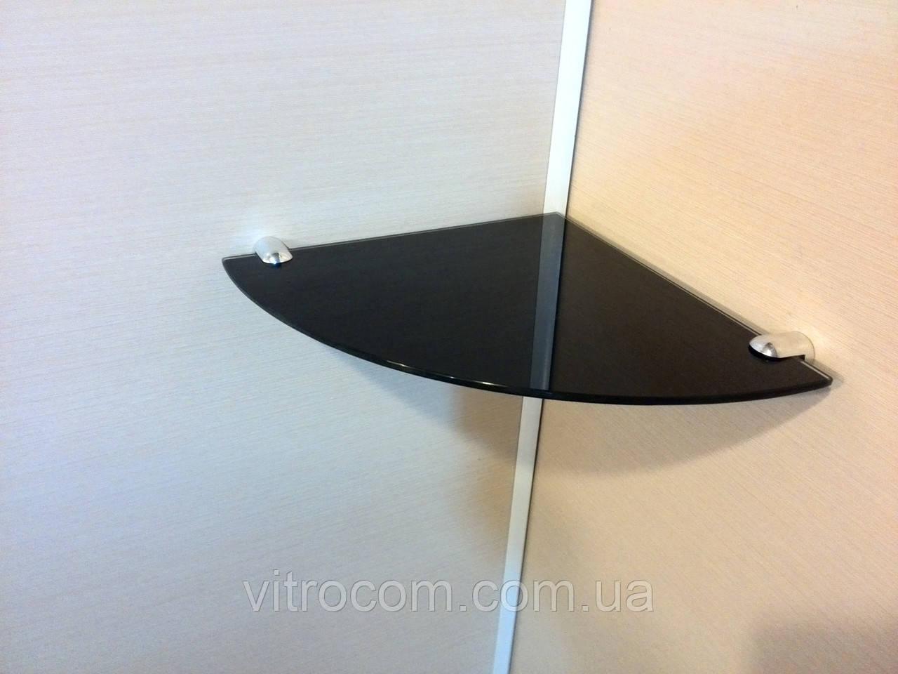 Полка стеклянная угловая 4 мм чёрная 25 х 25 см