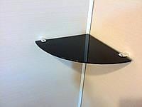 Полка стеклянная угловая 4 мм чёрная 25 х 25 см, фото 1