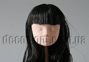 Голова куклы 4,5 см с черными волосами 25см