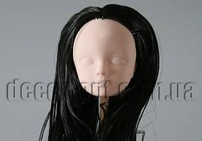 Голова куклы 4,5 см с черными волосами 25см без челки