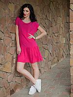 Яркое женское летнее платье малинового цвета