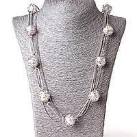Ожерелье шариковая цепь жемчуг в плетении L-80см  светлый металл