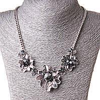 [20-40 мм] Ожерелье бисмарк с масивной подвеской Дикие цветы стекло Silver