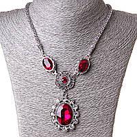 [20-50 мм] Ожерелье жгут с  подвеской Рубиновый амулет стекло страза Silver красный