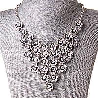 [15 мм] Ожерелье Цвет души множество очаровательных цветов с ядром страза Silver белый