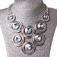 [30-40 мм] Ожерелье Цвет души огромная возрастающая подвеска стекло страза Silver белый