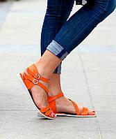 Босоножки оранжевогоцвета из натуральной кожи на низком ходу