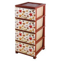 Пластиковый комод на 4 ящика Elif с рисунком Морская звезда, фото 1