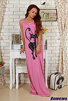 Летнее платье из вискозы с накатом Кошка