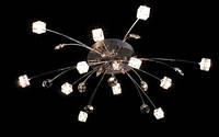 Люстра галогеновая на 12 лампочек с подсветкой и пультом управления для небольшой комнаты в хроме и золоте
