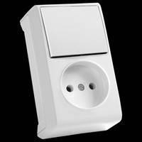 Блок вертикальный выключатель+розетка Vi-ko Vera белый 90681086