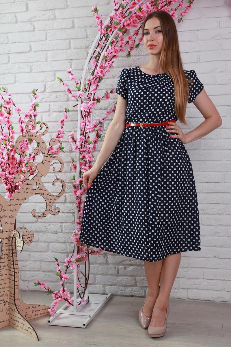 f6f9ce349cf Купить Красивое черное платье в белый горошек 312066292 - Грация   Стиль