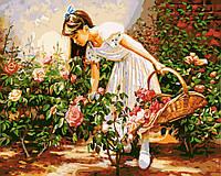 Живопись по номерам без коробки Девочка с корзинкой роз (BK-GX8848) 40 х 50 см