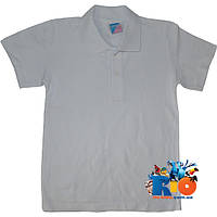 """Белая футболка """"Поло""""  , из трикотажа , для мальчиков от 10-13 лет"""