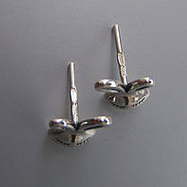 Оригинальные серебряные серьги-пусеты Зайчики, фото 2