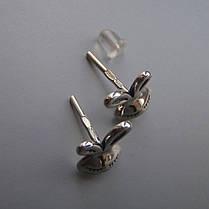 Оригинальные серебряные серьги-пусеты Зайчики, фото 3